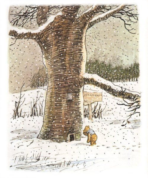 A. A. Milne's Winnie The Pooh, winter illustration by E. H. Shepard