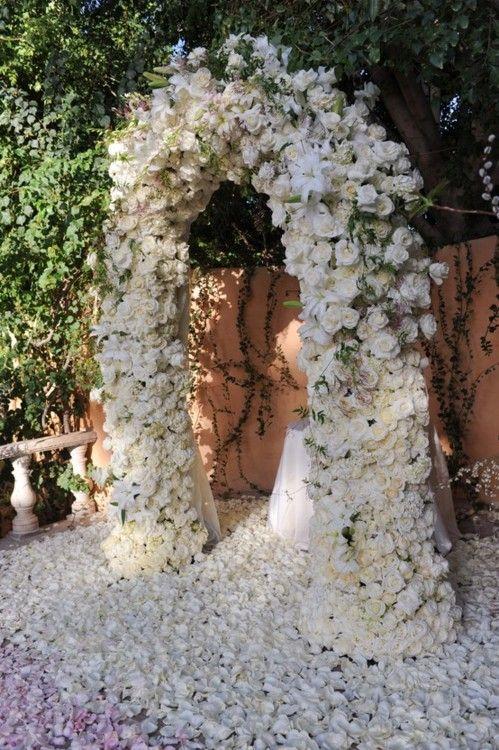 carpet of petals. beautiful arch. #wedding #decor #ceremony
