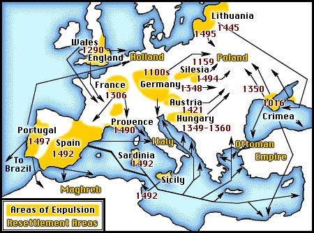 Map of Jewish expulsions and resettlement areas in Europe. 1100-1500.