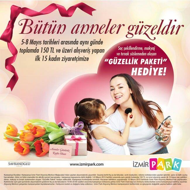 """5-8 Mayıs tarihleri arasında, aynı günde toplamda 150 TL ve üzeri alışveriş yapan ilk 15 kadın ziyaretçimize """"Güzellik Paketi"""" hediye ediyoruz.   KAMPANYA KURALLARI: Kampanya İzmir Park Alışveriş Merkezi Mağazaları'ndan yapılan alışverişlerde geçerlidir. Geçmiş tarihli fiş ya da faturalar, sevk irsaliyeleri, ödeme noktalarından yapılan işlemler, şans ve talih oyunu harcamaları, tütün ve tütün mamulleri ile alkollü içecek harcamaları kampanya kapsamına dâhil değildir. 5-8 Mayıs 2015…"""