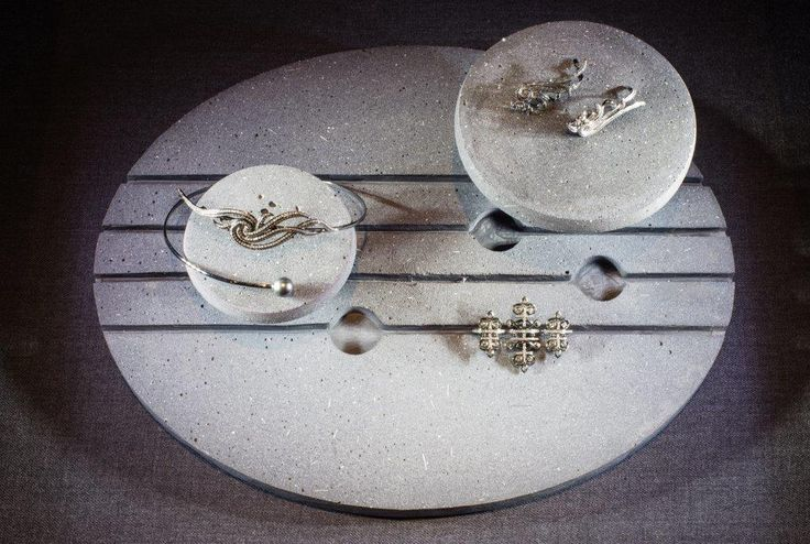 Nikos Koulis Athens flagstore, concrete jewelry display