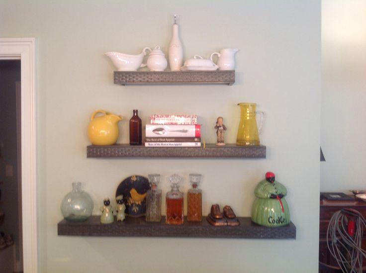 Custom floating shelves for kitchen