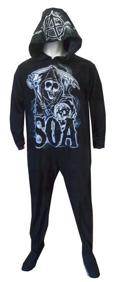 Sons Of Anarchy Grim Reaper Unisex Hooded Footie Pajama If you are a fan of the hit Fox show Sons Of Anarchy, these pajamas are...
