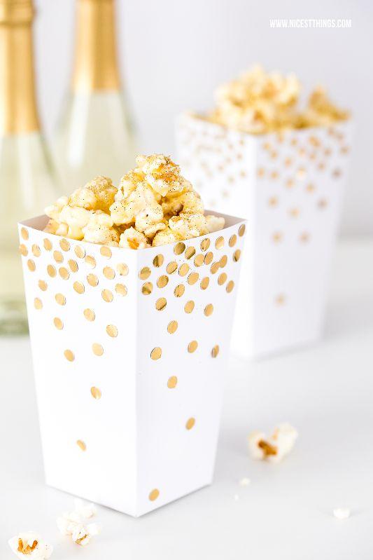 Popcorn selber machen Rezept: Baileys weiße Schokolade und DIY Vorlage Popcornbox