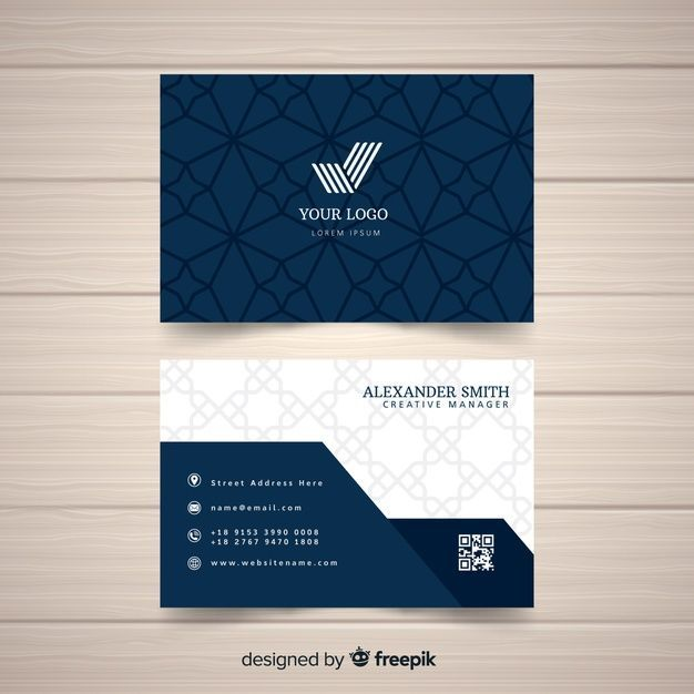 Flat Elegant Business Card Template Free Vector In 2020 Free