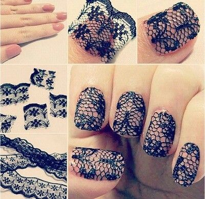 Black Lace over nude nails
