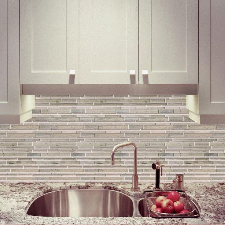 Pics Of Kitchens With Off White Cabinets Modamo Polished Random Strip Wooden White Limestone Mosaic