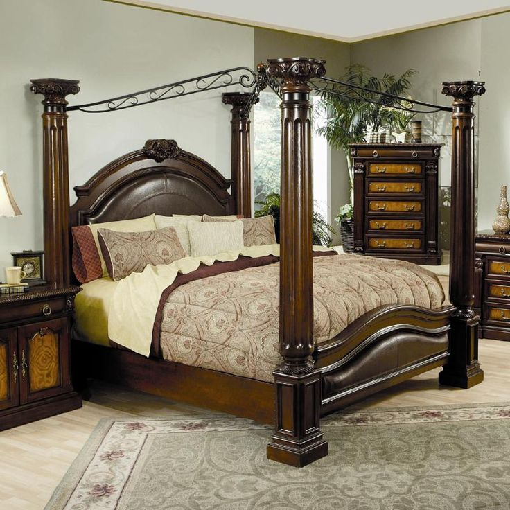 Coaster Furniture Montecito California King Canopy Bed In Cherry