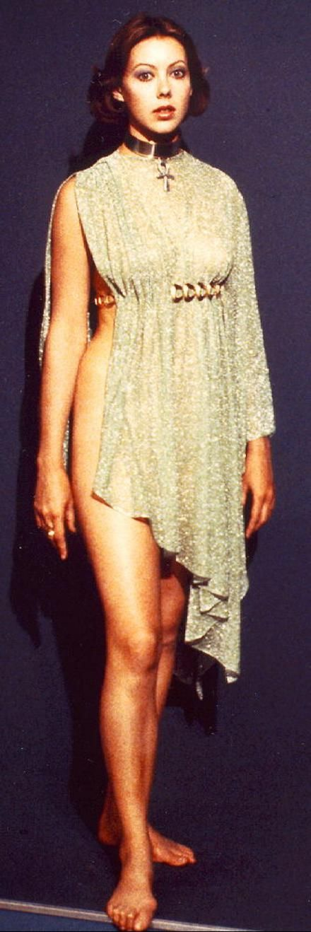 Jenny Agutter's lovely dress. In the movie, the slit is on the other side; maybe the photo is reversed.