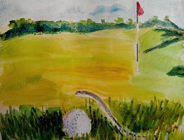 No Relief as per Rules of Golf #golf #humor #art #ideas #concept #rules #relief #watercolor #painting