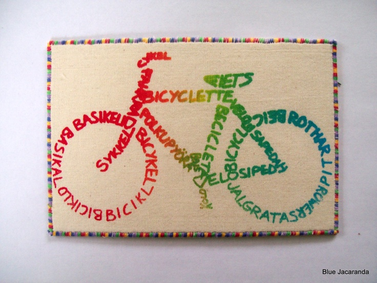 Bicycle Rainbow Calligram Art Card Multicolor by BlueJacaranda