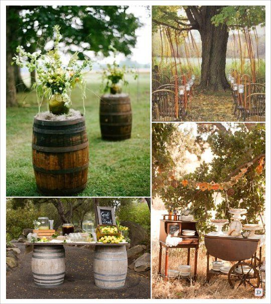 decoration salle mariage automne tonneau barrique ruban arbre theme vin pinterest mariage. Black Bedroom Furniture Sets. Home Design Ideas