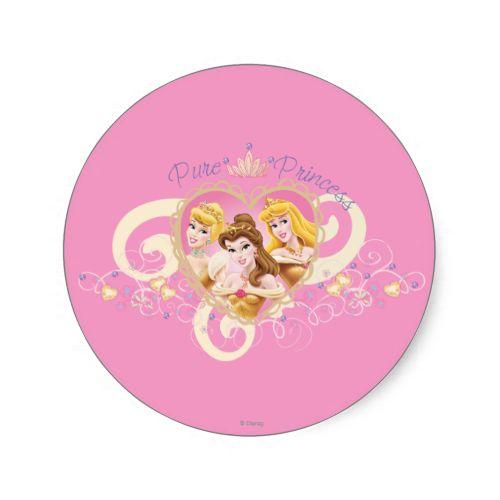 Disney princess pink heart classic round sticker round stickers