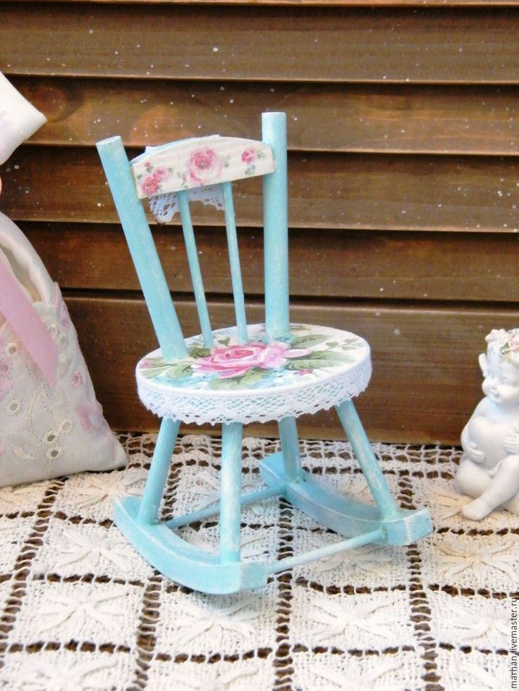 Купить Интерьерный стульчик качалка для кукол и мишек Бирюза. Декупаж - бирюзовый, белый, розы, стул