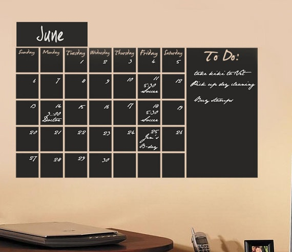 Giant wall calender painted in chalk board paint