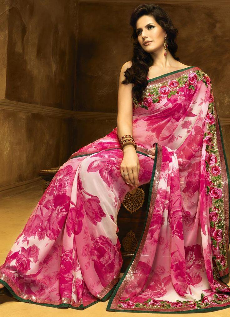 The border. And beautiful sari Pink floral printed saree $80