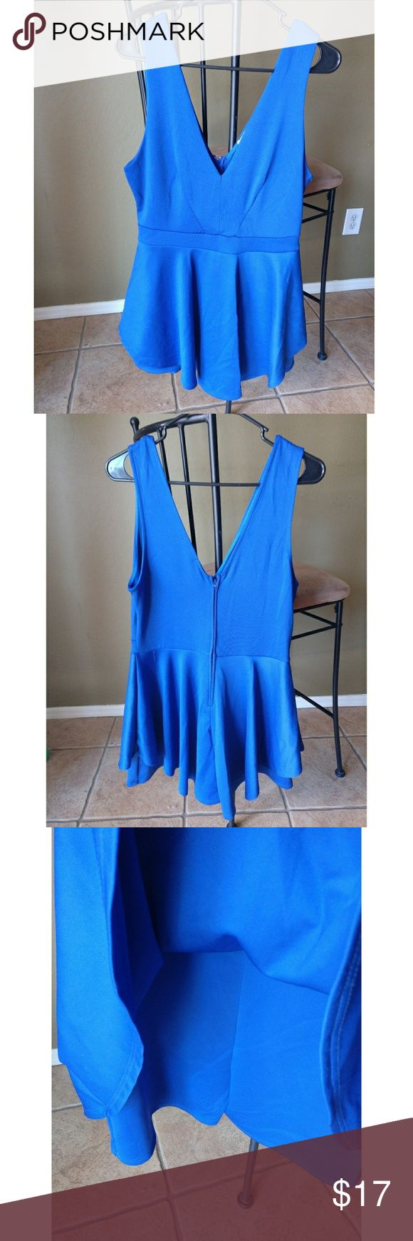 Charlotte Russe Cobalt Blue Dress V neck and back dress with attached shorts underneath skirt in size L. Charlotte Russe Dresses Mini