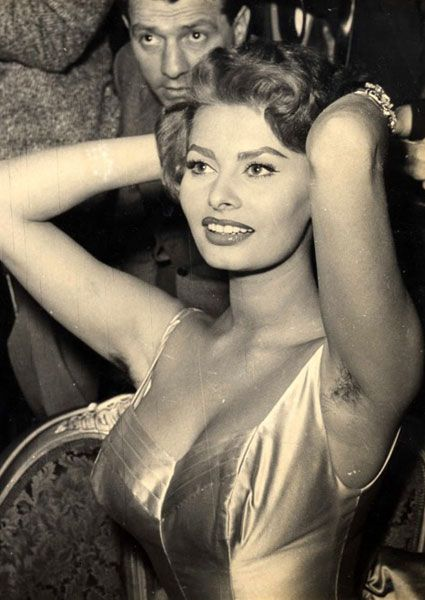 Sophia Loren showing her natural top-side bush. Follicles did not detract from her classic beauty.