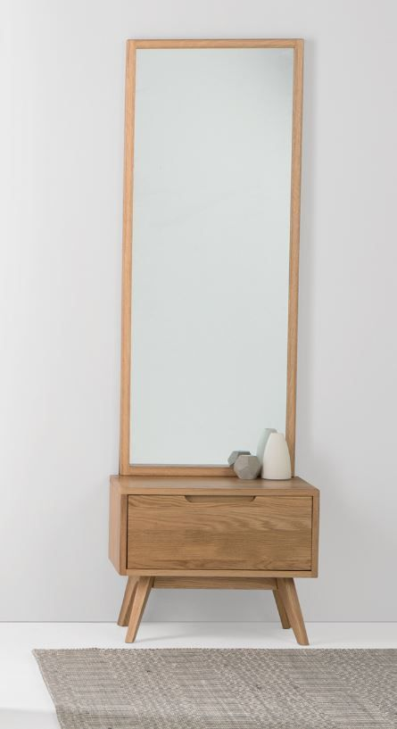 Jenson Storage Mirror Oak