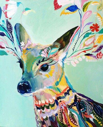 Alfa Img Showing gt Colorful Deer Art