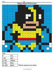 mega man wolverine multiplication coloring page - Mega Man Printable Coloring Pages