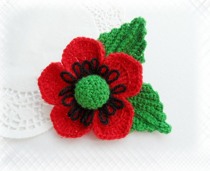 HAND CROCHET LARGE CORSAGE BROOCH GLITTER *RED FLOWER POPPY WITH LEAVES in Crafts, Crocheting & Knitting, Other Crocheting & Knitting | eBay