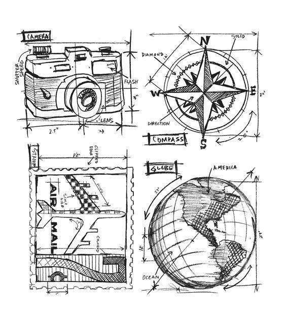 Shop Tim Holtz Cling Rubber Stamp Set-Travel Blueprint & Stamps at Joann.com