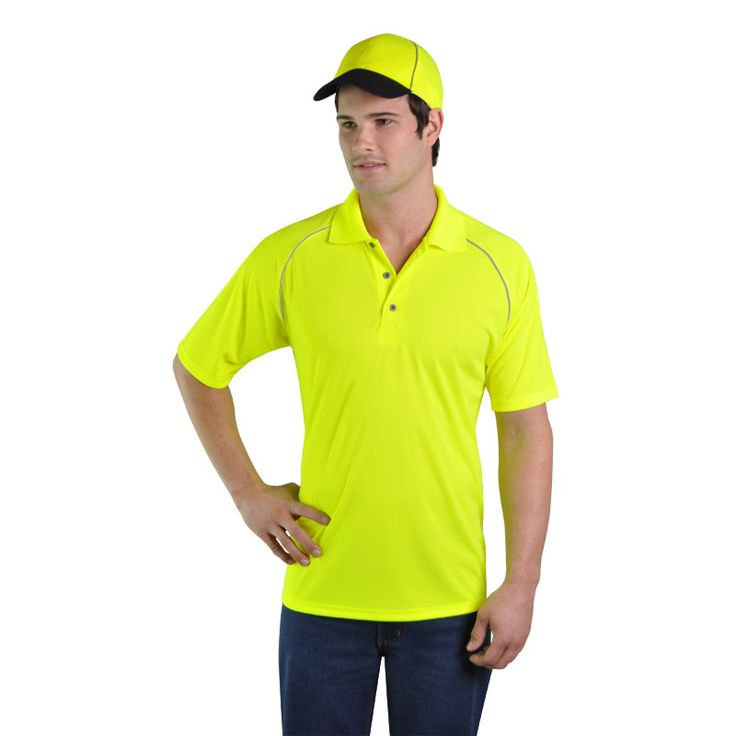High Visibility Golfer BRAND: TUFF IT Has raglan trim on front and back made from highly reflective tape for night visibility and dries quickly through evaporation