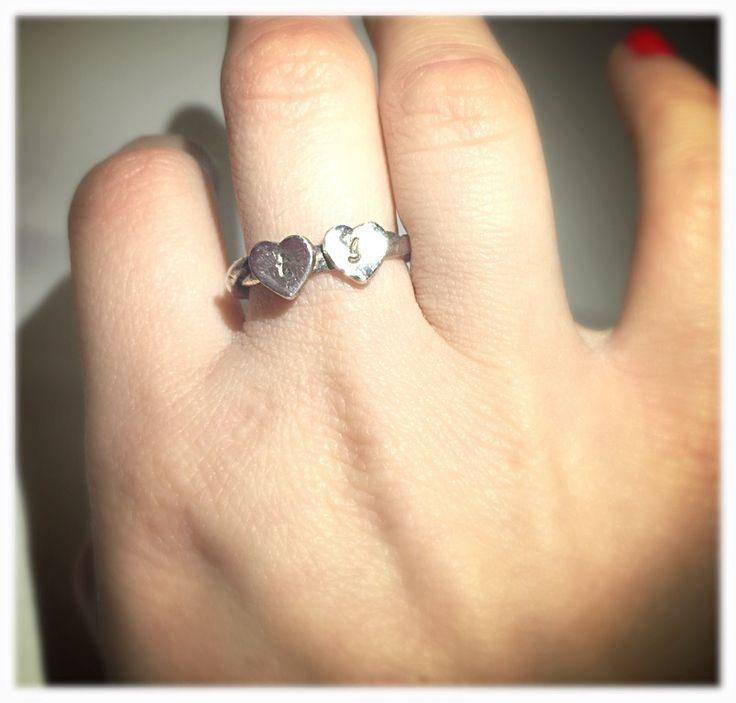 Iniziali.  #anello #ring #hearts #cuori #silverclay #handmade