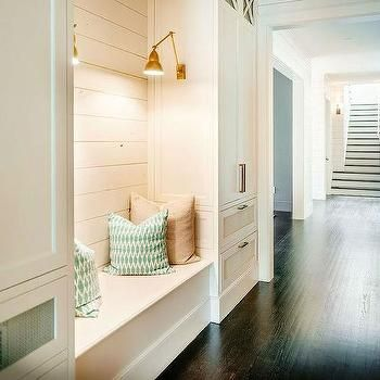 Shiplap Mudroom with Built In Bench and Brass Sconces, Cottage, Laundry Room