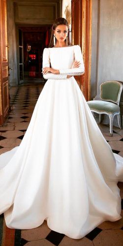 bridal dresses a line classic simple with long sleeves milla nova