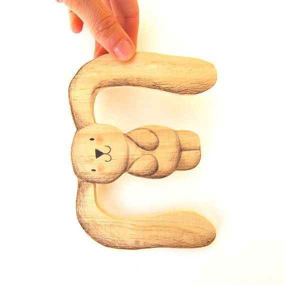 Alphabet Letter E Wooden Nursery wall art New Baby gift. by Ciacio