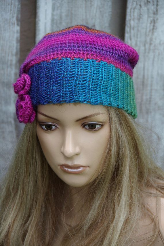Crochet Beret Beanie Slouchy Women Rainbow Women hat by Degra2