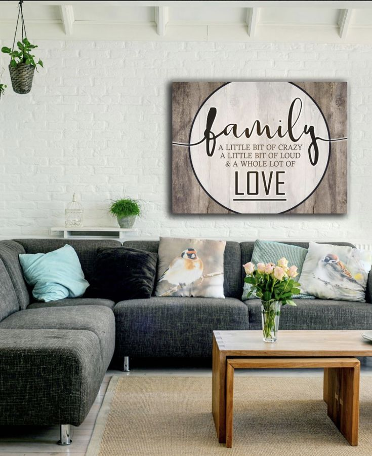 Bedroom decor wall art family love saying wood frame ready to hang