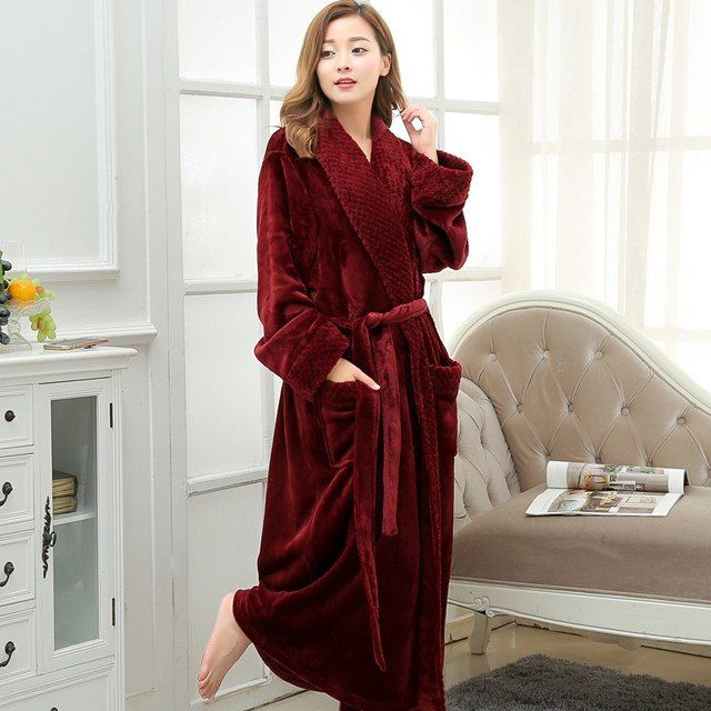 XL, Dressing Gown Women Full Length Robe Plus Size Fleece Winter Warm Bathrobe