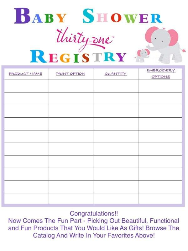 baby shower registry gift registry thirty one baby thirty one business