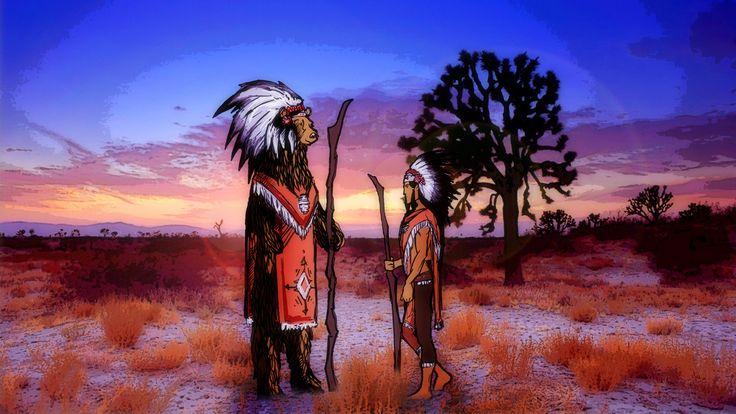 Bear and Indian by Wait94 Vaigacheva Nastya