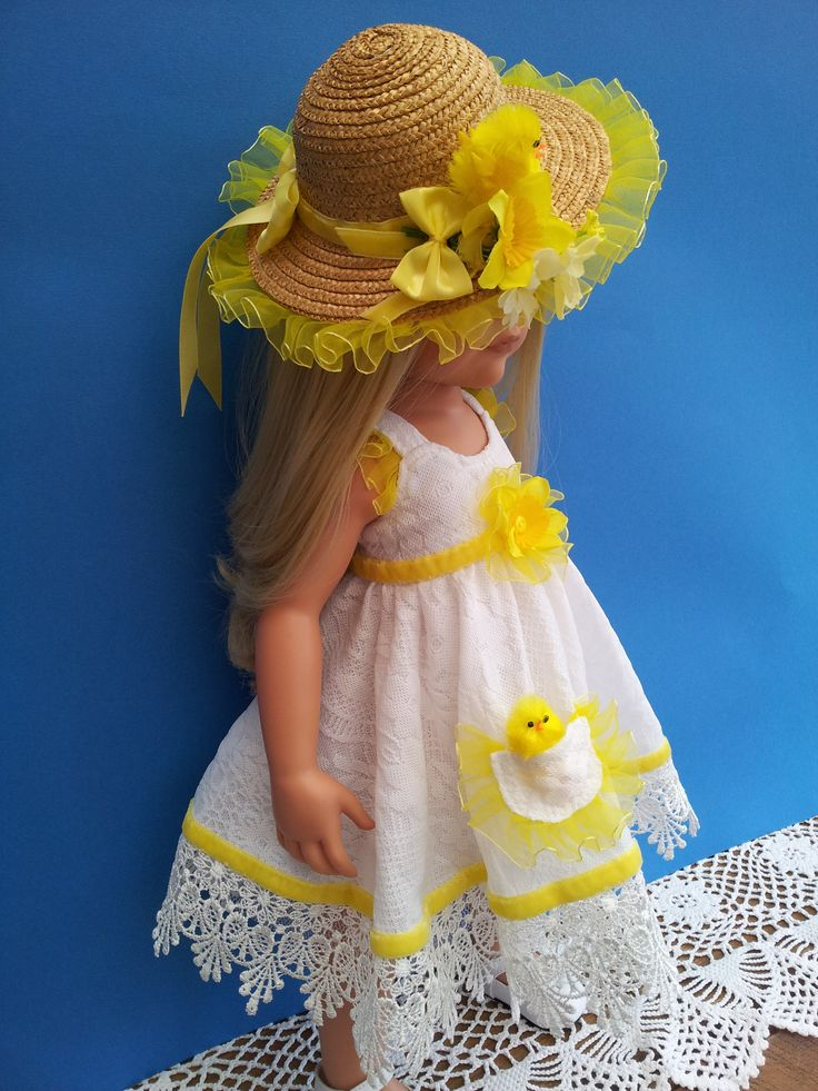 Easter Bonnet & Daffodil Chick Dress with deep lace trim and yellow velvet ribbon.