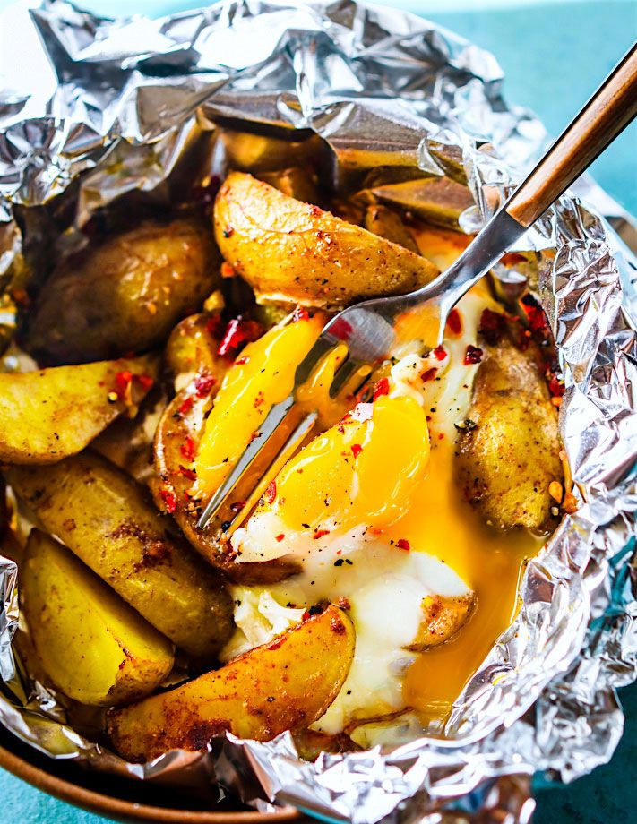 INDIAN SPICED BAKED POTATO AND EGG FOIL PACKETS