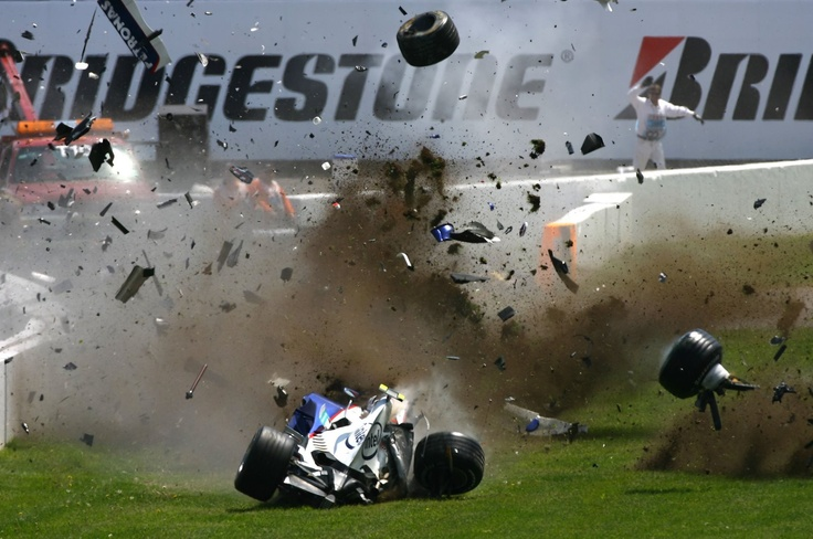 Robert Kubica is helpless as his BMW Sauber disintegrates after hitting the wall at 300km/hr during the 2007 Canadian Formula One Grand Prix at the Circuit Gilles Villeneuve. The Polish driver was lucky to only sustain a light concussion and sprained ankle in the incident which was judged to have had a peak G-Force of 75G.