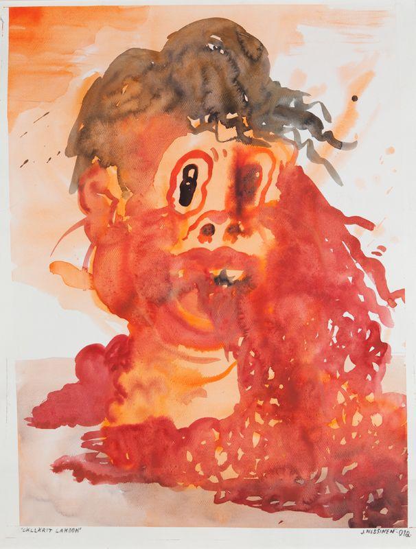 LÄLLÄRIT LAKOON Artist: Jyrki Nissinen, 2012. Painting, Watercolour and marker on paper. 64×84 cm. More art from Jyrki Nissinen at www.tabulaland.com/tuote-osasto/taiteilijat-osasto/jyrki-nissinen/