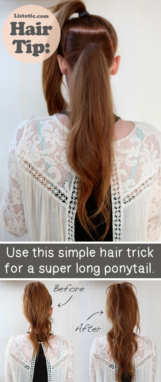 fake a longer ponytail.... and lots of other tips like this!