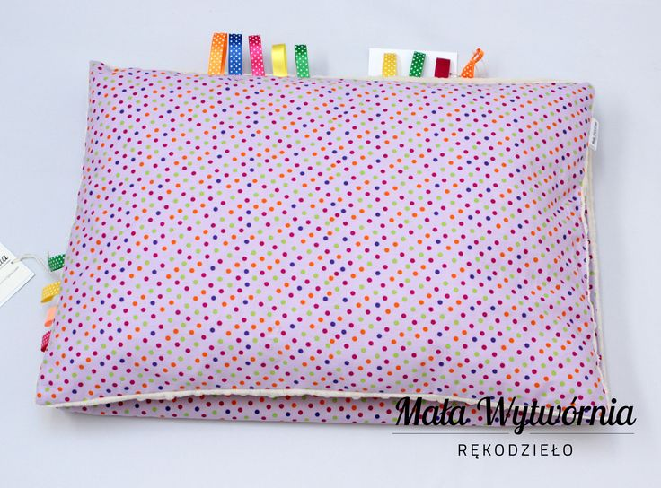 Poduszka z kolorowej bawełny w kropki i miękkiego pluszu Minky.  www.facebook.com/malawytwornia