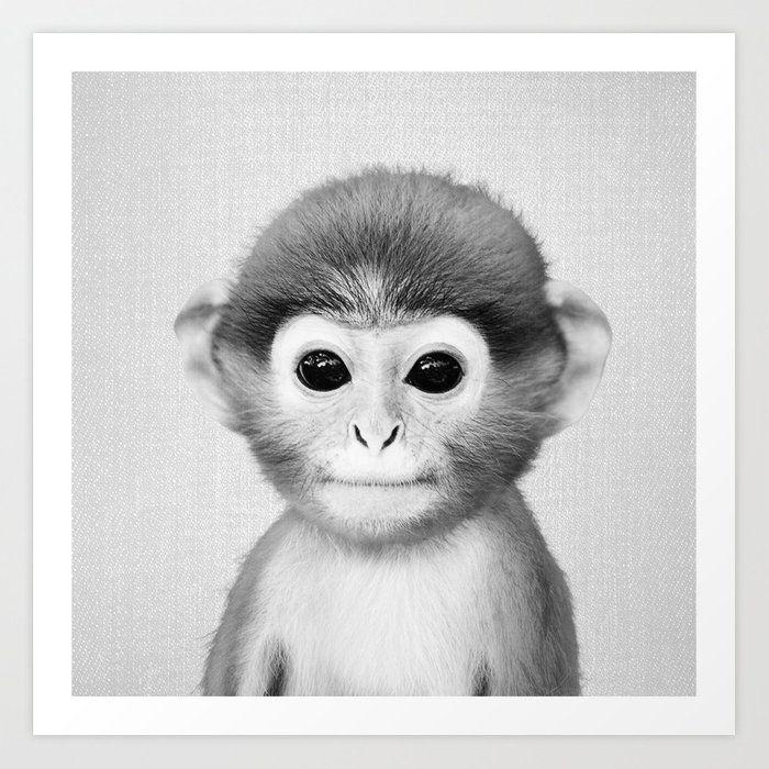 Baby Monkey Black White Art Print Art Print Black White Art Baby Monkey Metal Art Prints