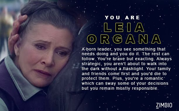 I took Zimbio's 'Star Wars: The Force Awakens' character quiz and I got Leia Organa. Who are you? - Quiz