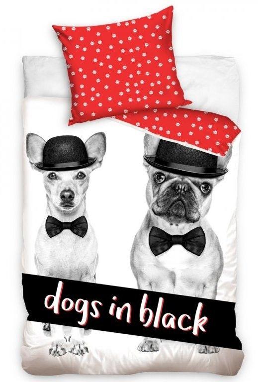 Povlečení DOGS IN BLACK bavlna hladká, 140x200cm + 70x90cm | Internetový obchod Chci POVLEČENÍ.cz
