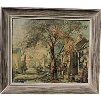 STANLEY SOBOSSEK oil on canvas painting of an exciting street scene (Rockport, MA?)