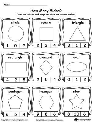 **FREE** Identifying and Counting Shape Sides Worksheet. Teach your child how they can identify different shapes by counting the sides with this Math printable worksheet.