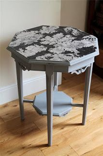 Painted with autentico chalk paint french grey and decoupaged