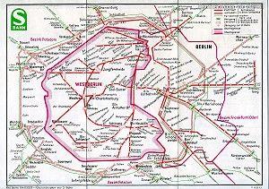 Netzplan der Berliner S-Bahn 1973